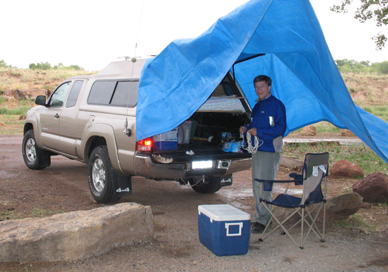 Before A Tarp Provides Some Shelter From The Storm While Camping Near Canyon De Chelly