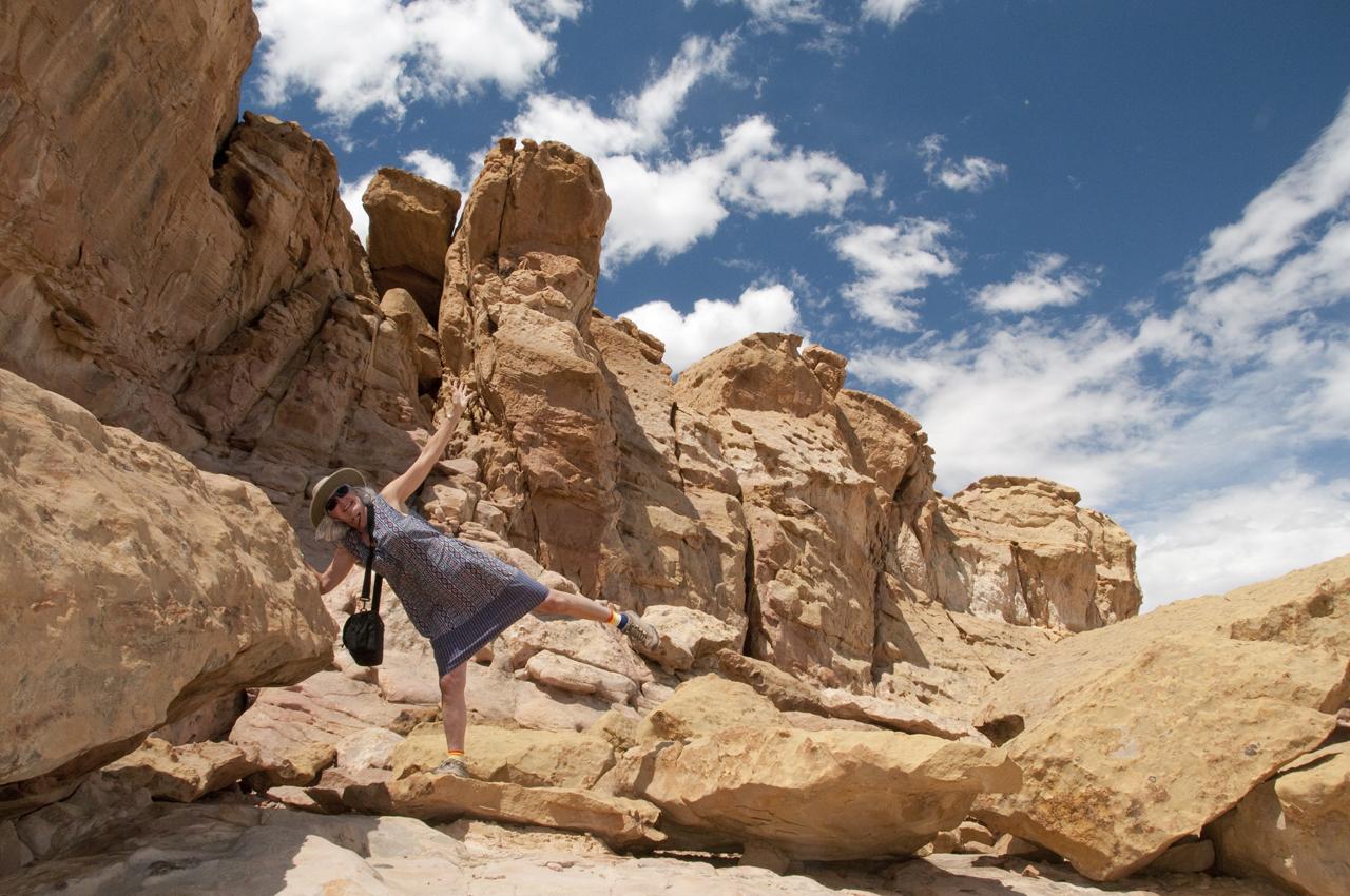 posing in the sandstone