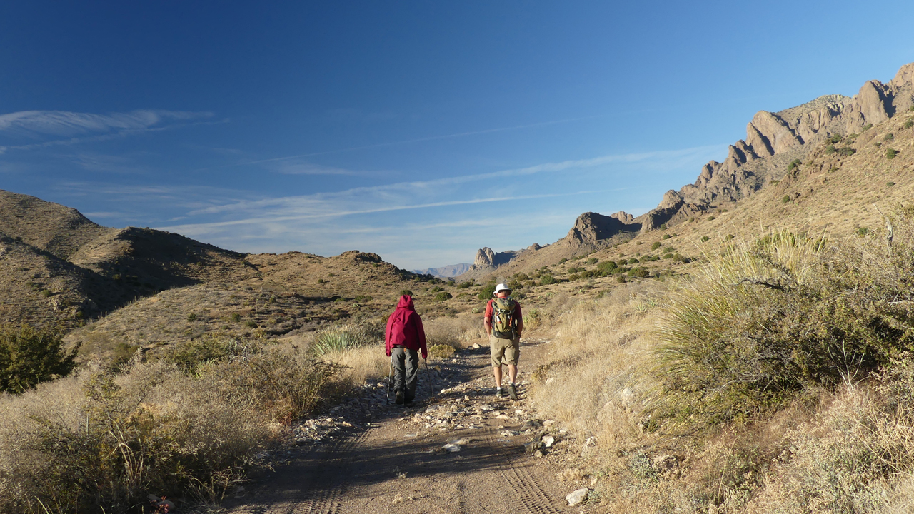 hikers heading downhill