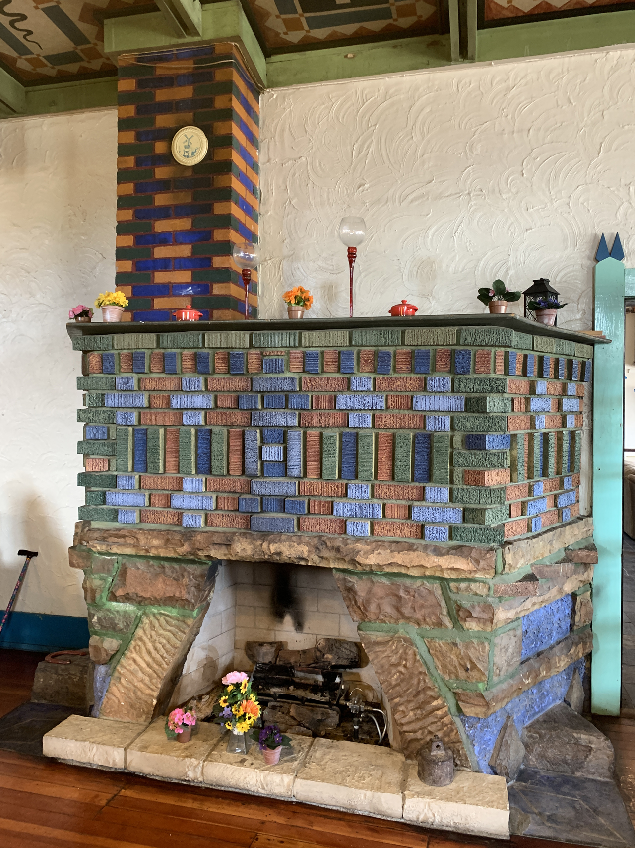 Fireplace in the restaurant at the Shaffer Hotel