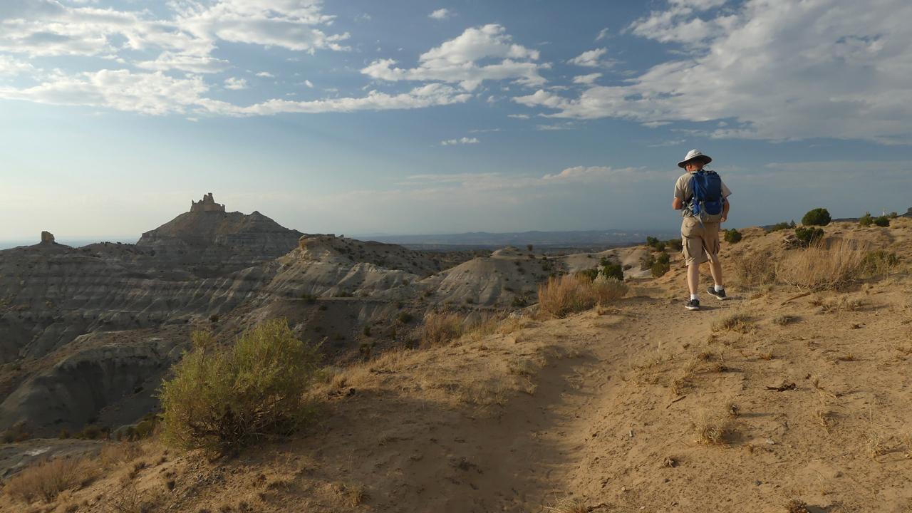 Dennis hiking toward Angel Peak