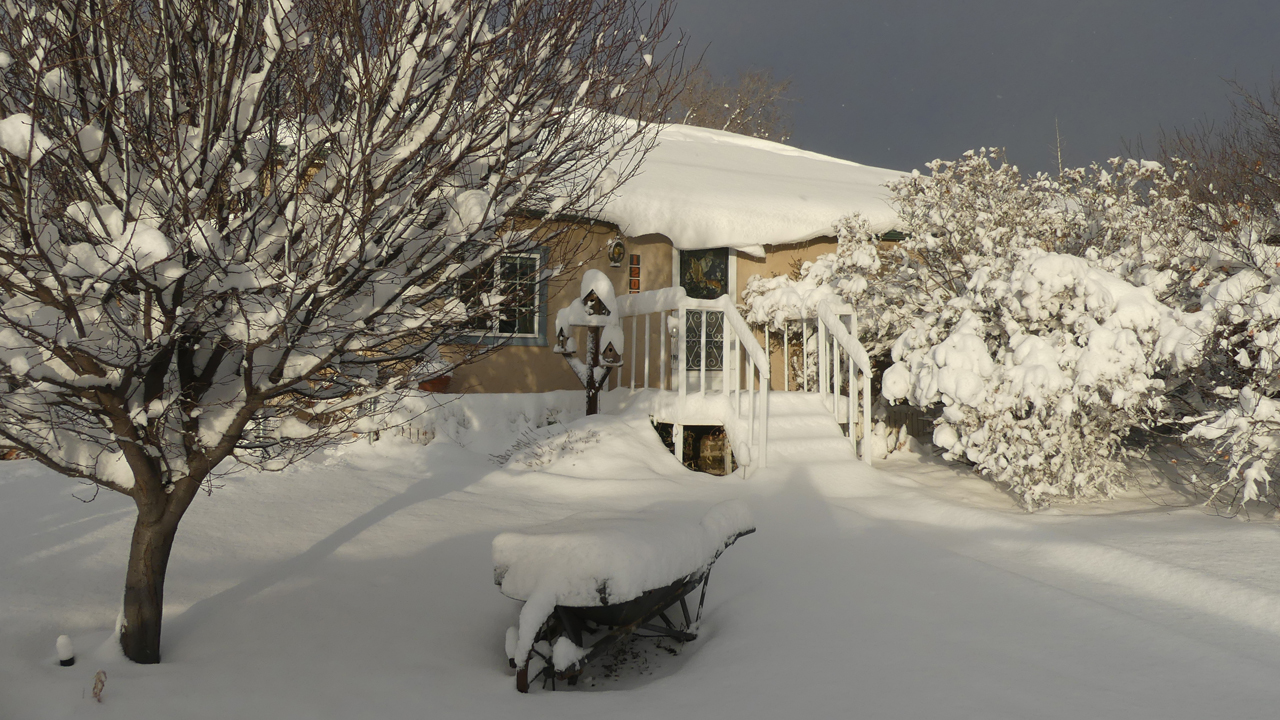 our house in the snow