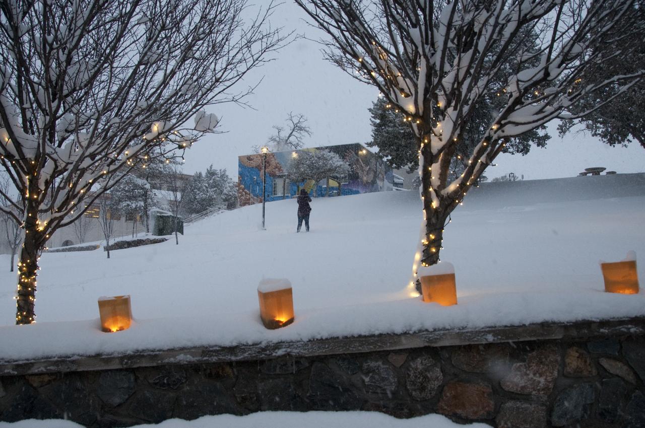 luminaria in snow