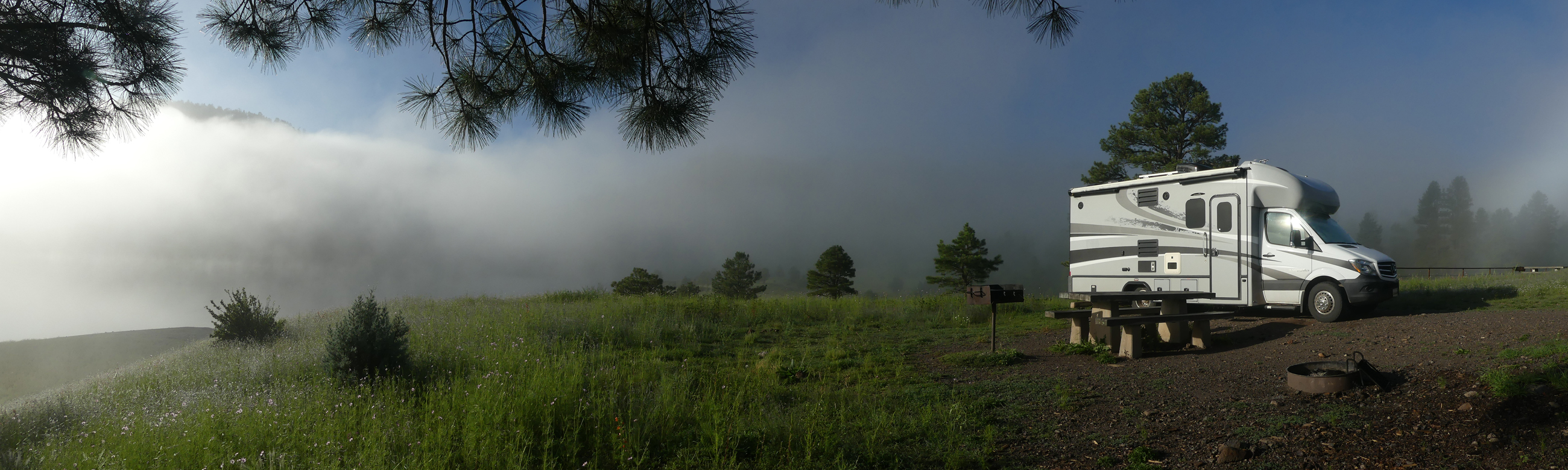 RV in the fog