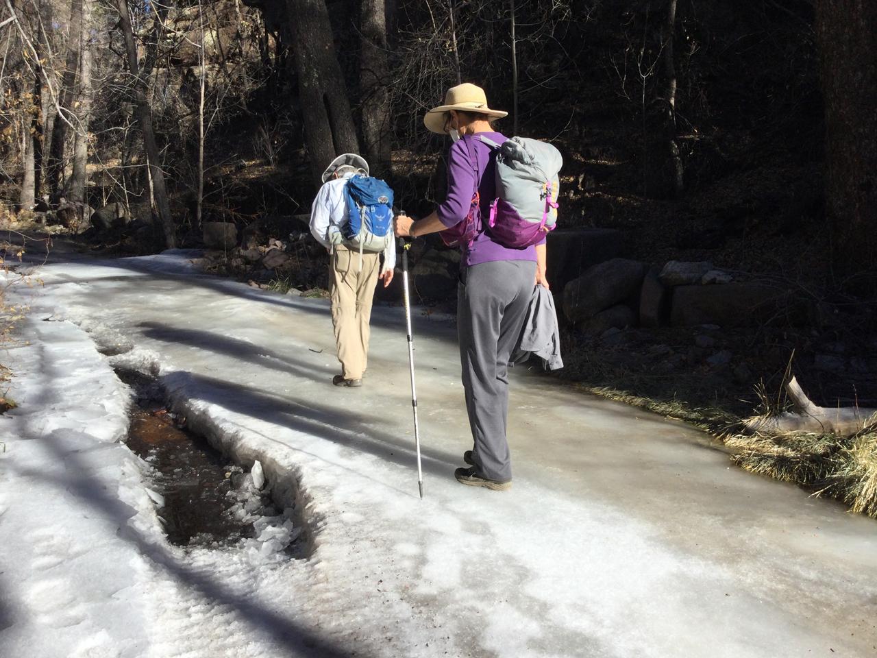 walking across a frozen creek
